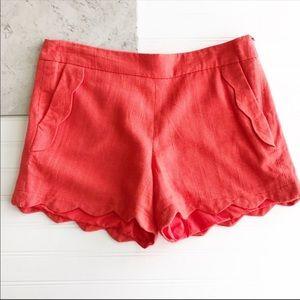 Cynthia Rowley || NWOT Scalloped Linen Shorts Sz 6